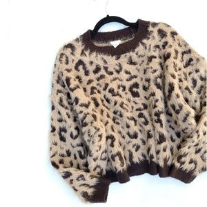 H&M Leopard Print Fuzzy Chunky Sweater